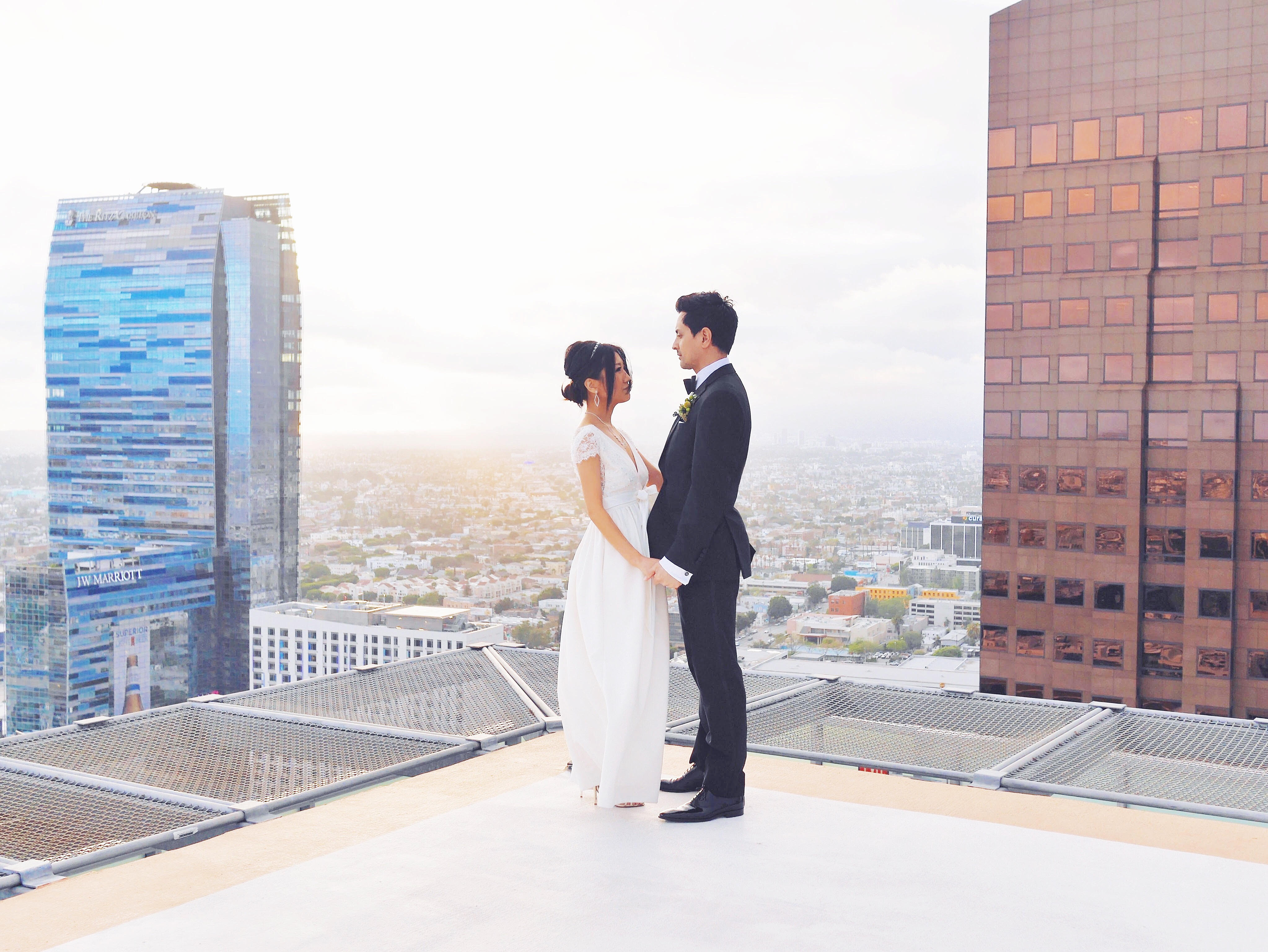 dtla, elopement, rooftop wedding, dtla wedding, dtla rooftop wedding, bhldn, bhldn wedding dress, jilll stuart wedding dress, jenny yoo, jenny yoo wedding dress