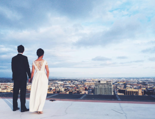 dtla, elopement, rooftop wedding, dtla wedding, dtla rooftop wedding, bhldn, bhldn wedding dress, jilll stuart wedding dress, jenny yoo, jenny yoo wedding dress