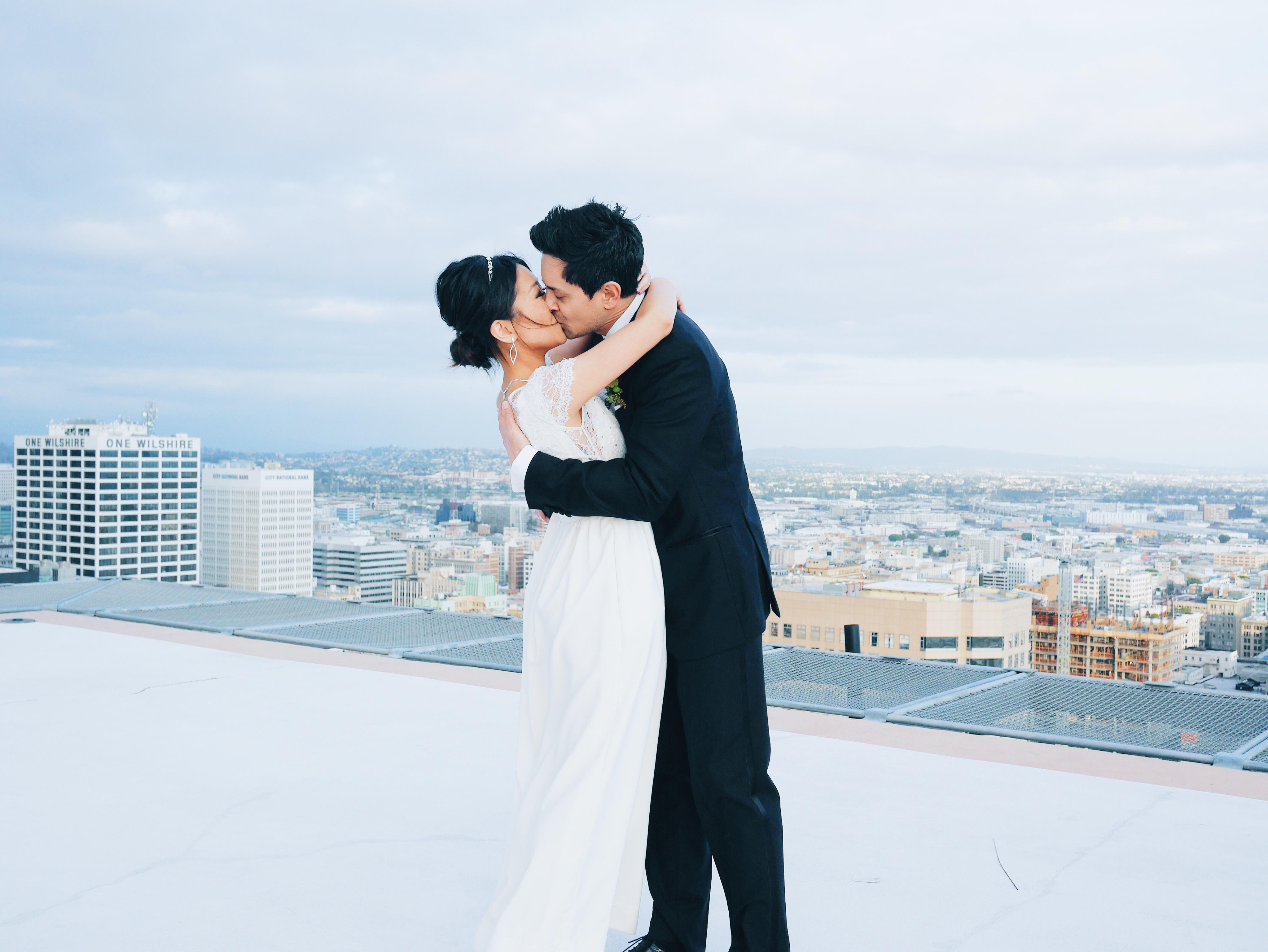dtla elopement, elopement, bhldn wedding dress, jenny yoo, downtown la wedding